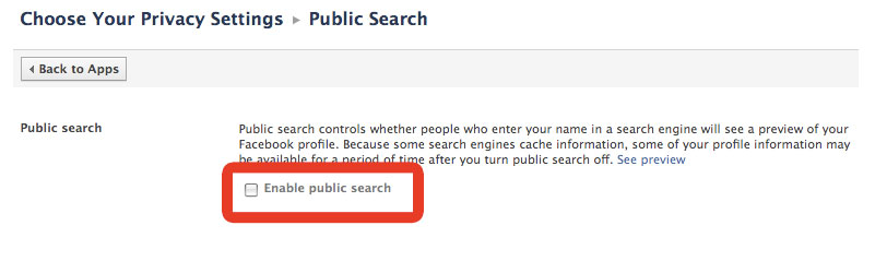Enable or disable public search on Facebook