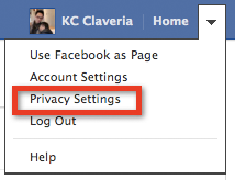 Facebook > Home > Privacy Settings