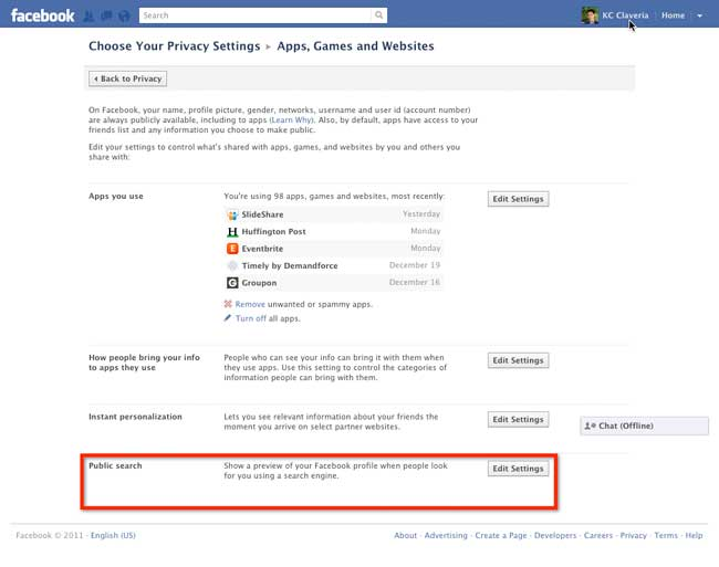 enable public search facebook