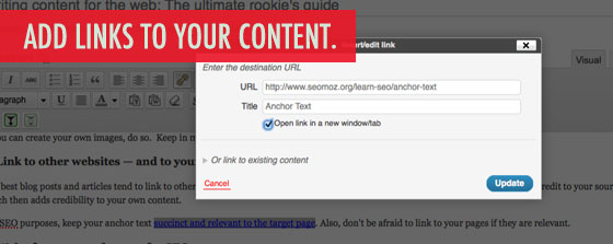 Add links to your web content.