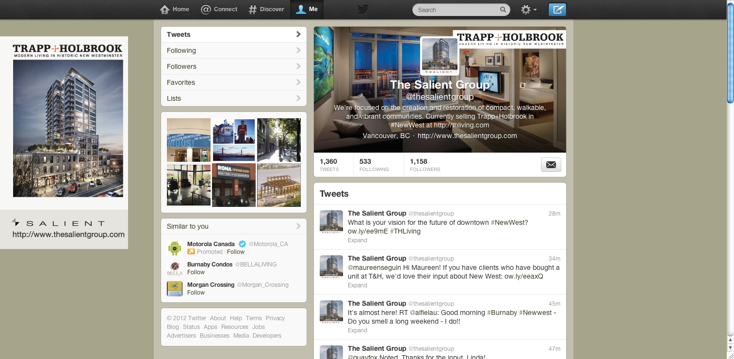Twitter page makeover - after