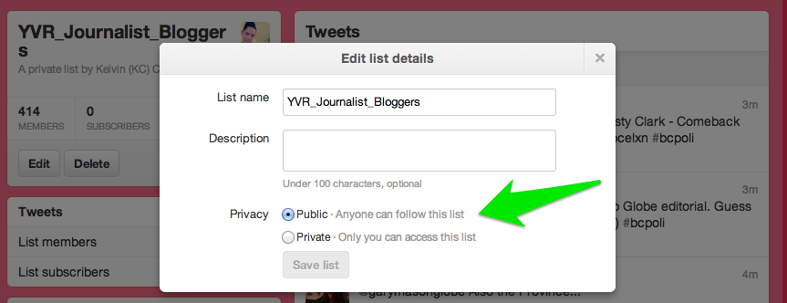 How to turn your private Twitter lists into public ones