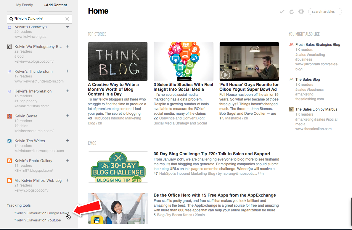 google news on feedly