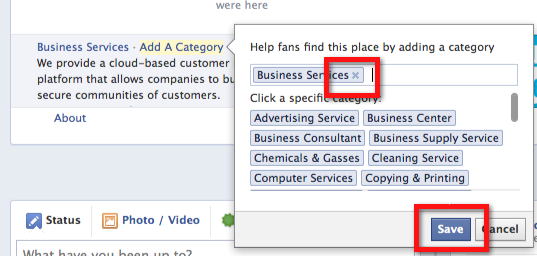 Facebook page - remove subcategory
