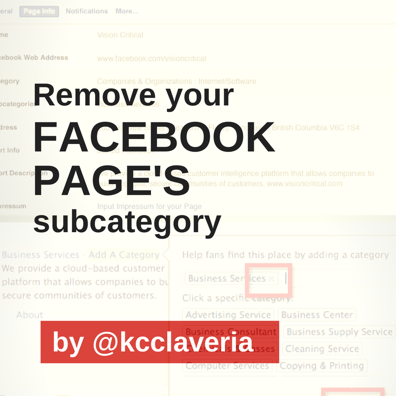How to remove your Facebook Page's subcategory