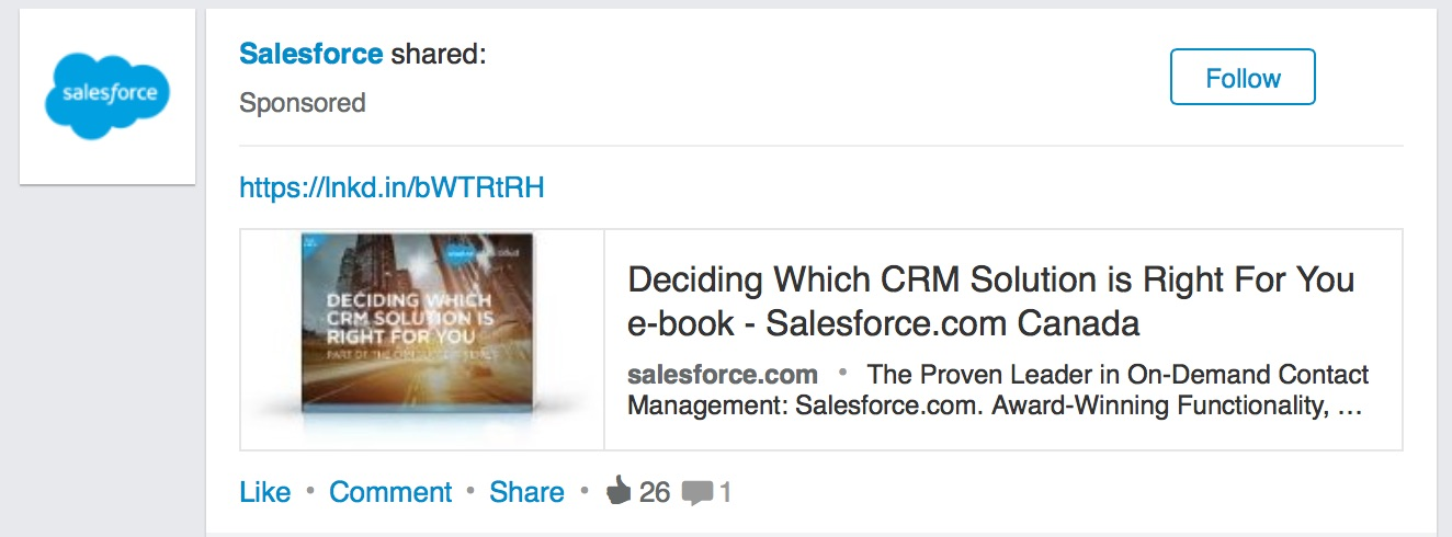 Example of a LinkedIn sponsored post