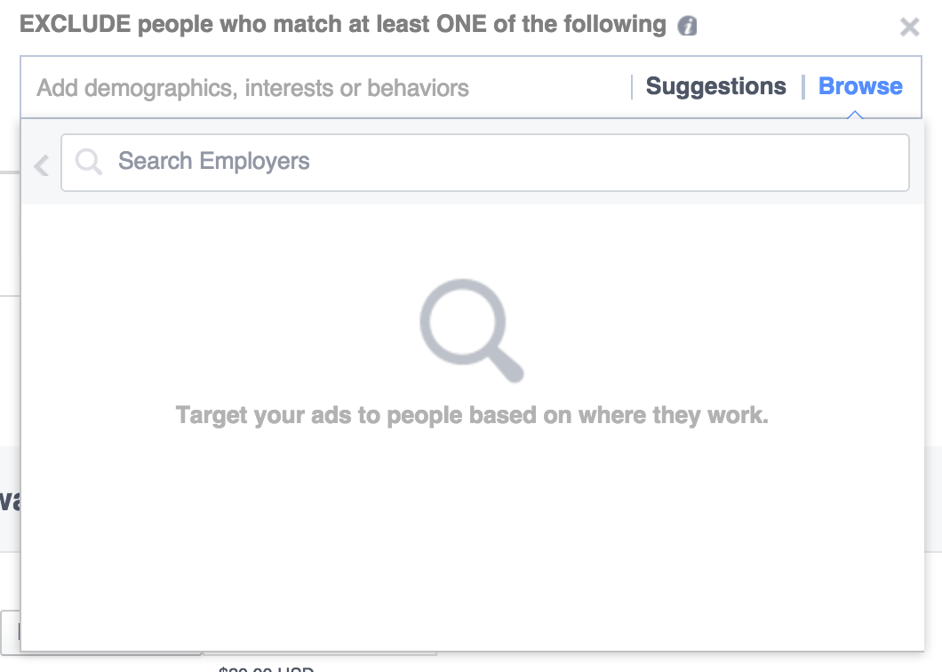 Facebook ad hack: Exclude your competitors' employees (step 3)